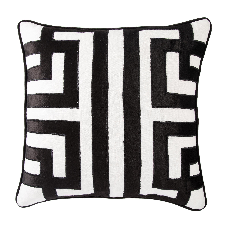 Nikki Chu by Jaipur Living Ordella White/ Black Geometric Down Throw Pillow