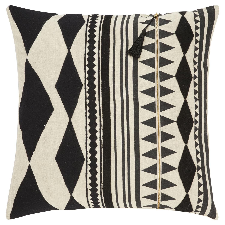 Nikki Chu By Jaipur Living Lonyn Beige/ Black Geometric Down Throw Pillow